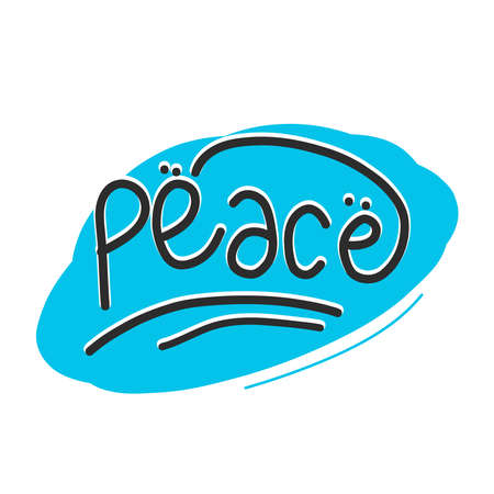 vector typography text about peace concept. simple doodle text