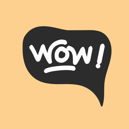 simple doodle text illustration about WOW. Cartoon Wow Explosion
