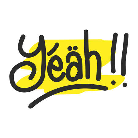 Yeah, yes, oh lettering. . Cartoon font label tag expression. Comic text sound effects. Sounds vector illustration.