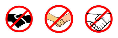 No handshake icon with red forbidden sign, avoiding physical contact and corona virus infection. vector icon set