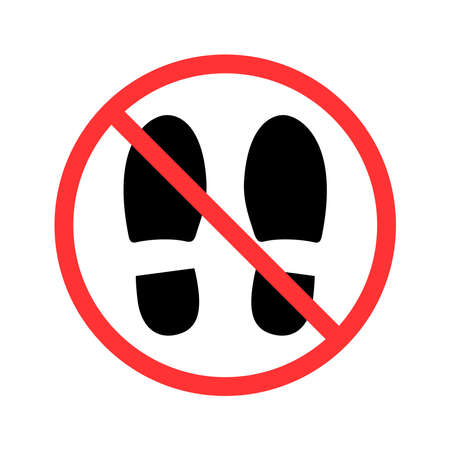 do not take a shoes caution warn symbol for public areas to do not do that. vector logo, sign, symbol Logo