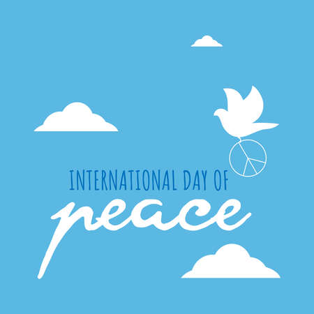 Design for celebrating international day of peace. happy world peace day greeting. vector illustration Vettoriali