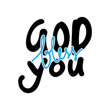Printable God Bless You. Short Phrase. Hand Lettering Brush Calligraphy For blog and social media. Motivation and Inspiration Quotes. Design For Greeting Cards, Prints,