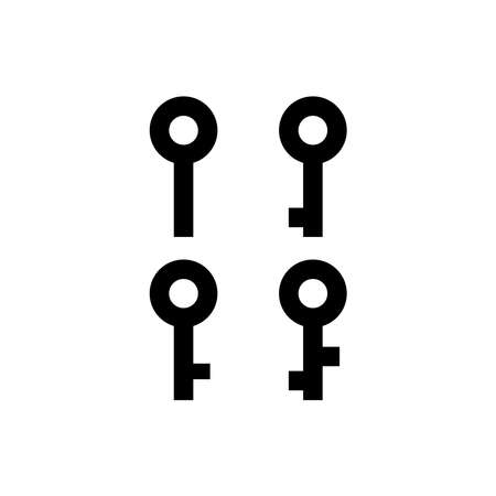 set of icon about simple key with black color for secure project design. vector illustration