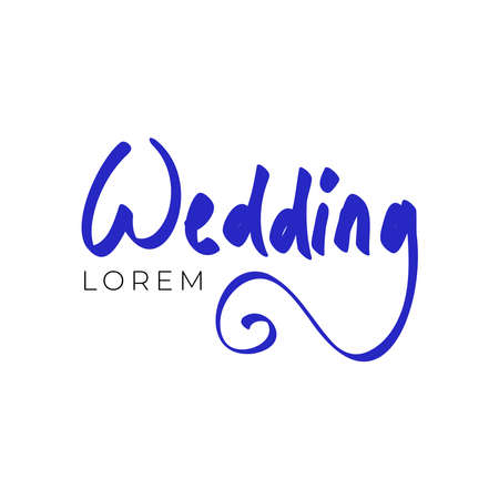 Wedding logo design template with hand lettering. Vector illustration