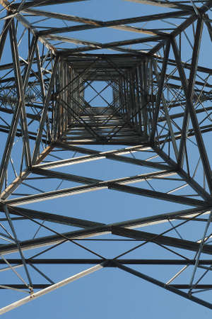 High voltage post or High voltage tower with blue sky backgrpund in the morning 版權商用圖片