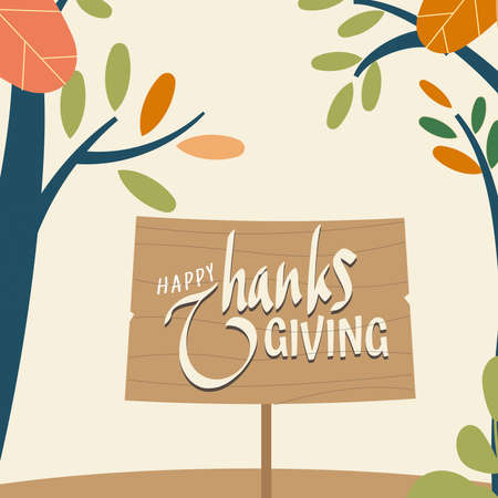 Happy thanksgiving day background with lettering and illustrations. Thanksgiving greeting cards and invitations. Vector illustration.