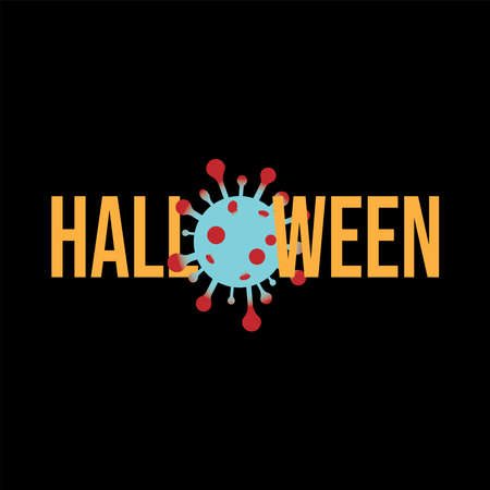 Design for celebrating Halloween Holiday with stay safe concept because Many traditional Halloween activities can be high-risk for spreading viruses, vector illustration.