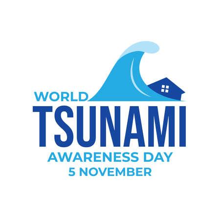 World Tsunami Awareness Day, 5 November. High tide waves conceptual illustration vector. visible from the seashore and marine life