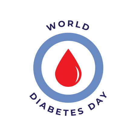 World diabetes day awareness design with blue circle color and red blood icon for poster, website, or any design. vector illustration