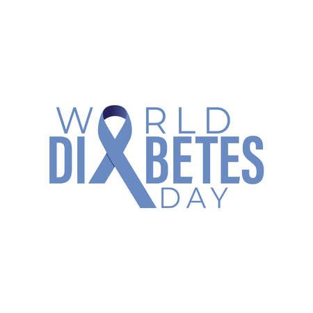 World diabetes day awareness design with blue color ribbon for poster, website, or any design. Vector illustration Illusztráció