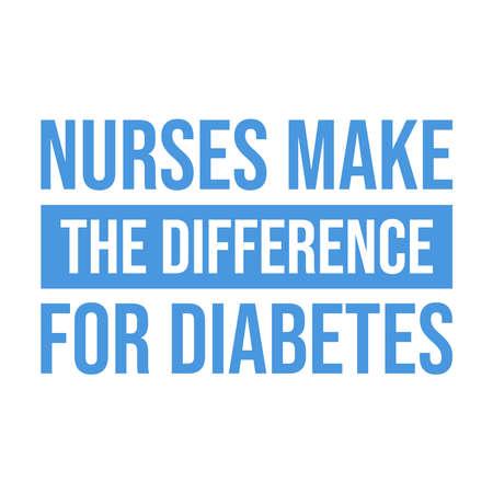 World diabetes day awareness design with recent year theme, nurse make the difference for diabetes. Vector illustration Illusztráció