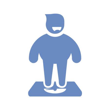 a fat men controlling his weight icon for healthcare concept in vector file Illusztráció