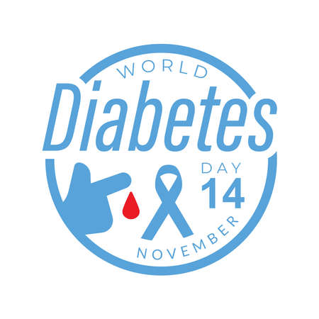 World diabetes day awareness design with blue circle color and ribbon for poster, website, or any design. vector illustration