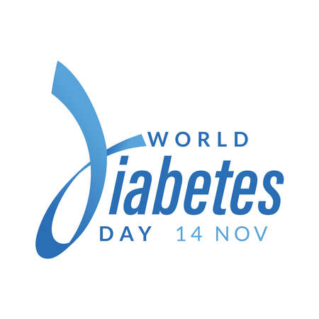 World diabetes day awareness design with blue ribbon for poster, website, or any design. vector illustration