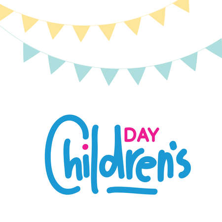 Happy Children's Day greeting card. Doodle letters on white background with child style. Vector illustration