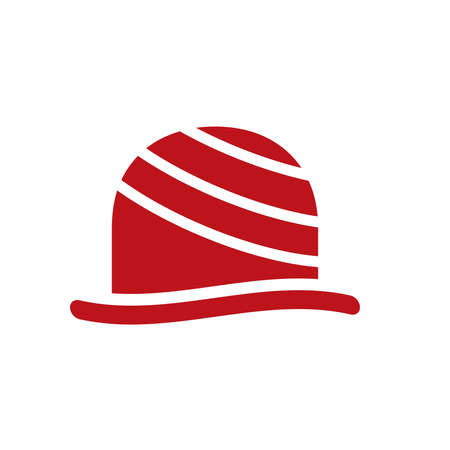 An abstract logo with red hat icon in vector illustration