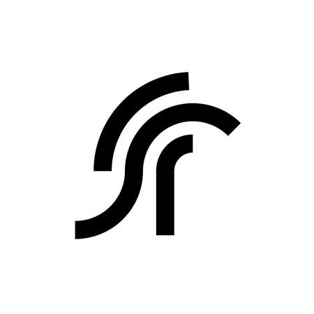 Minimalist logo about r and with spartan symbol in vector Иллюстрация