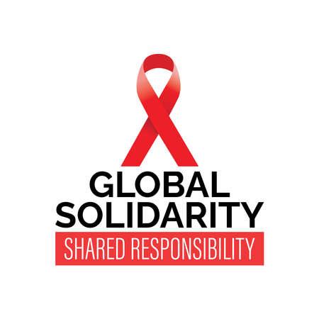 Design for World AIDS day awareness campaign, Aids Awareness Red Ribbon, in vector illustration Ilustração