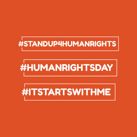 Design for celebration the Human Rights Day with recover better - stand up for human right theme. Web banner for social equality. Ilustração