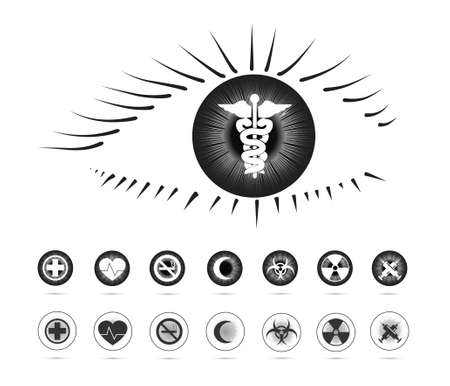 Health symbols in the eye(Eye series) Vector