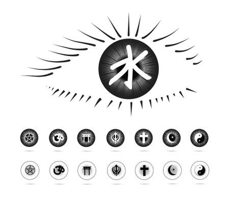 Religion symbols in the eye(Eye series) Illustration
