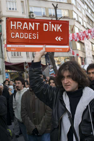 İstanbul,Turkey,January 19,2011-Thousands of people gathered to commemorate Hrant Dink
