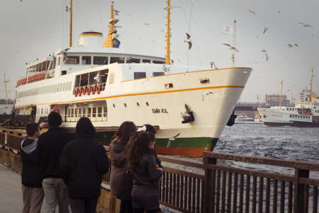 ıstanbul,turkey,february 02,2011-Turkish passengers traveling at the bosphorus district,istanbul Editorial