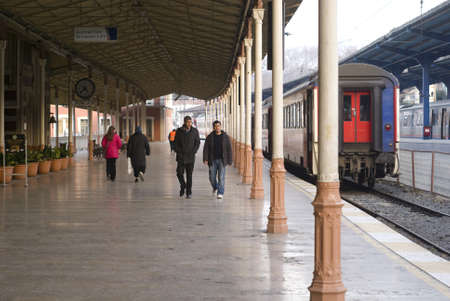 ıstanbul,turkey,february 02,2011-Turkish passengers traveling at the train station,istanbul