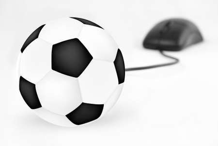 soccer ball and mouse into isolated on white
