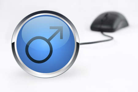 male icon and mouse on white background