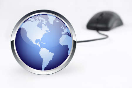 world icon and mouse on white background
