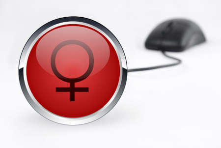 female icon and mouse on white background