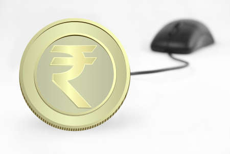 rupee: currency and computer mouse on white background (serries 4 )