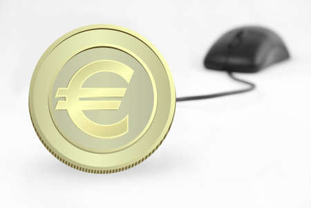 currency and computer mouse on white background (serries 6 ) Stock Photo