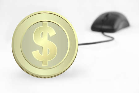 currency and computer mouse on white background (serries 7 )