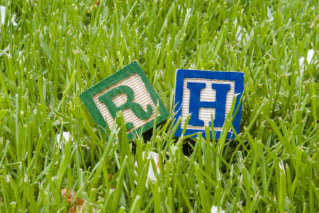 rh letters on the grass