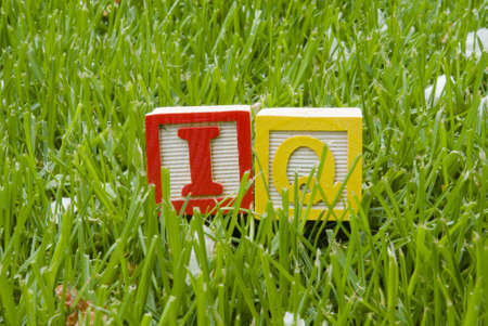 Iq letters on the grass