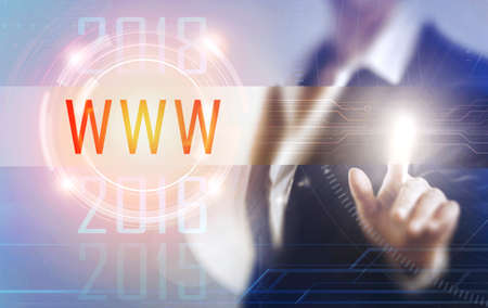 Business women touching the www screen