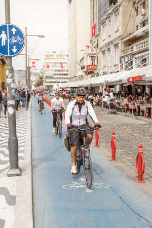 Izmir, Turkey - April 23, 2016:The use of bicycles is quite common among the Izmir people. Especially, the coastal bicycle route is liked and used by tourists.