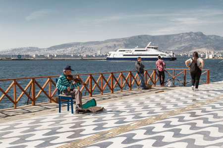 Izmir, Turkey - April 21, 2016:Izmir coast is used especially for summer vacation, intensive navigation by people. Editorial