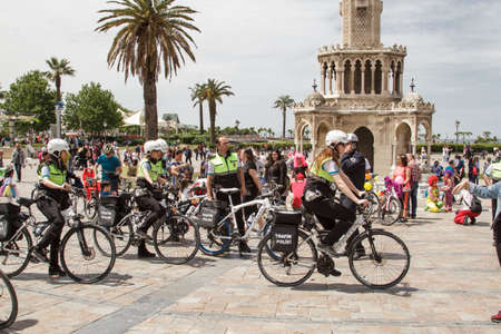Izmir, Turkey - April 23, 2016: The costly bike ride in Izmir was celebrated with enthusiasm by many people. They ride bicycles in costumes.The use of bicycles is quite common among the Izmir people. Especially, the coastal bicycle route is liked and used Editorial