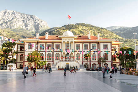 Izmir, Turkey - April 21, 2016: The Governorship of Manisa is located in the city center. Administrative and urban decisions are taken in the governorate, which is an old and large structure.