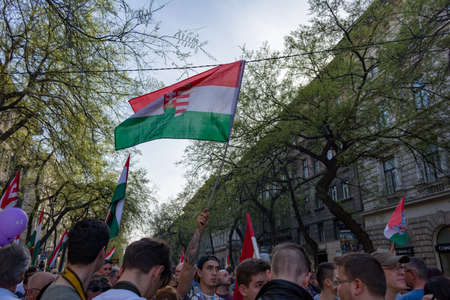 BUDAPEST, HUNGARY - APRIL 14, 2018: Political protest demonstration against the recently elected government for real democracy . The rally was organised through group called We are the majority .
