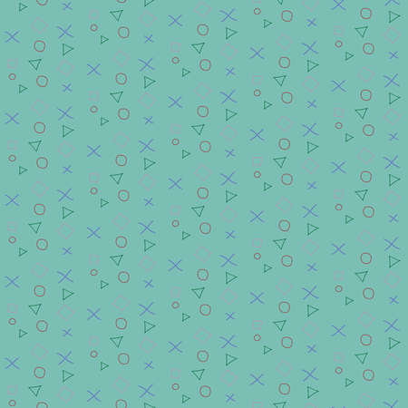 Geometric seamless pattern. Repeated circles, triangles, crosses and squares. Hand made style. Modern vector illustration. Illustration