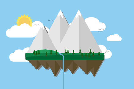 Floating island with mountain, hill, tree and birds. Summer time holiday voyage concept. Illustration in flat style. Travel background Illustration