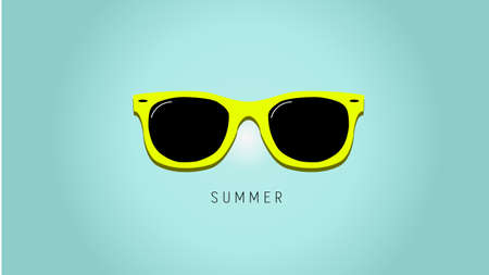 Minimalistic summer background with sunglass. Flat design style. Sunglasses silhouette. Simple icon. Modern flat icon in stylish colors. Web site page and mobile app design element.