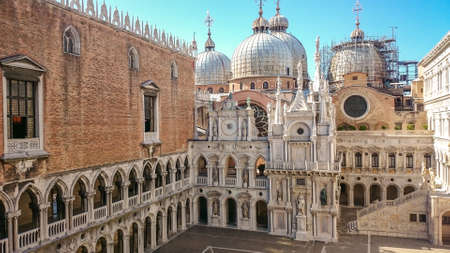 Courtyard of Doge's Palace or Palazzo Ducale in Venice, Italy. Doge's Palace is one of the main travel attractions in Venice. Doge's Palace was built in the 15th century on San Marco Square