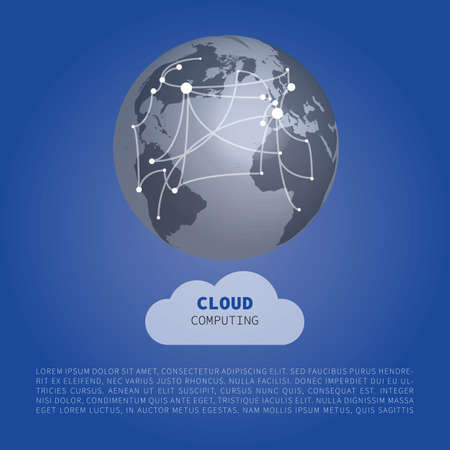 Cloud Computing Design Concept with world Map connections - Digital Network Connections, Technology Background.