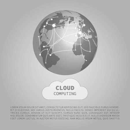 Black and White Modern Minimal Style Cloud Computing, Networks Structure, Telecommunications Concept Design, Network Connections, Transparent Geometric Wireframe - Vector Illustration.